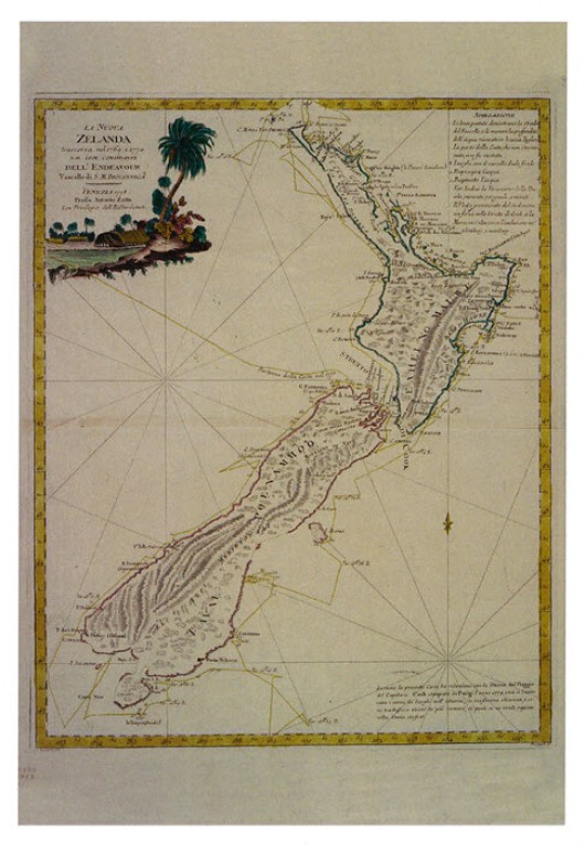 HMS Endeavour's path around New Zealand