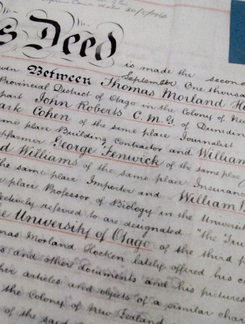 Hocken Deed of Trust gifting the collection to the University of Otago