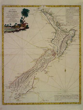 Map showing the HMS Endeavour's path around New Zealand on Captain Cook's voyage 1769-70